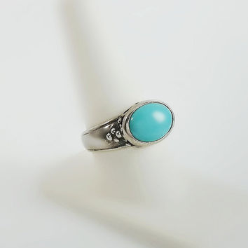 Turquoise Ring - Sterling Turquoise Ring Size 9 - Sterling Filigree Turquoise Cabochon Ring - Chunky Sterling Ring