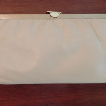 Vintage ML Cream Leather Clutch Purse made by baublesandblingforu