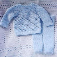 Crocheted Newborn Top Pants Set Baby Boy Blue