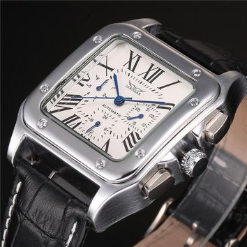 JARAGAR Brand Male Relogio Square Case Roman Numeral Dial Auto Date Day Calendar Leather Belt Automatic Mechanical Men's Watch