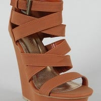 Bamboo Brucee-06 Strappy Open Toe Platform Wedge