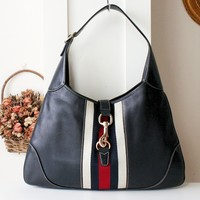Gucci Jackie O Bouvier Navy Blue Leather Vintage Web Hobo Bag