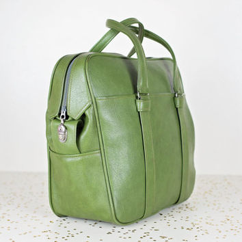 samsonite carry on bag / olive green tote luggage / overnight weekender bag / green luggage