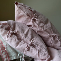 Rose Quartz Rustic Rough Heavy Weight Linen Pillow cases, set of 2. Standard, King and Euro sizes