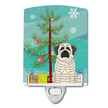 Merry Christmas Tree Mastiff Brindle White Ceramic Night Light BB4141CNL