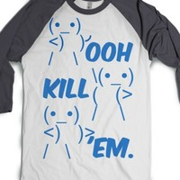 Ooh Kill 'em.-Unisex White/Asphalt T-Shirt