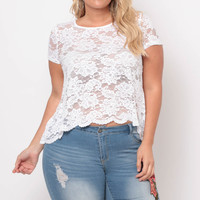 Plus Size Floral Sheer Lace Tee  - White