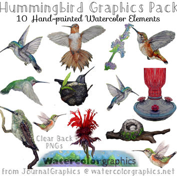 Hummingbird Graphics Pack | 10 Hand-Painted Watercolor Clip Art Birds