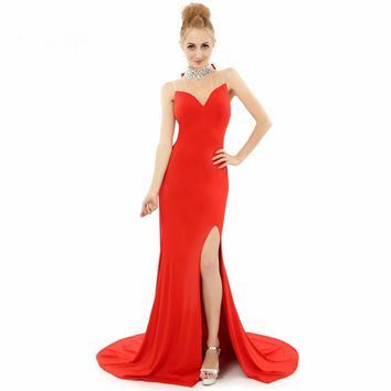 Mermaid High neck Beaded Sheer Back Side Split  Red Formal Evening Dresses