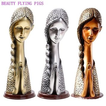 BEAUT FLYING PIGS Crafts Praying Girl Sculpture Prayer Statue Figurine Lady Ornament Home Wine Cabinet Living Room Decoration