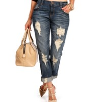 Dark Denim Distressed Boyfriend Jeans