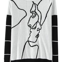 Cartoon Jacquard Long Sleeve Colorblock Round Neck Sweater