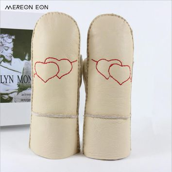 2017 ladies winter warm real wool leather gloves cute fashion hand-sewn heart-shaped thick female .sheepskin leather gloves