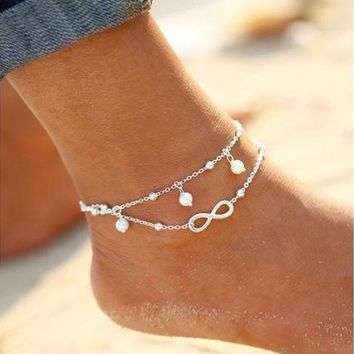 ONETOW New Arrival Fashion Simple All-Match Infinity Anklet Creative Silver Plated Goldplated Double Chain Cross Shape Pretty Girl Summer Beach Travel Bracelet Jewelry [10586084244]