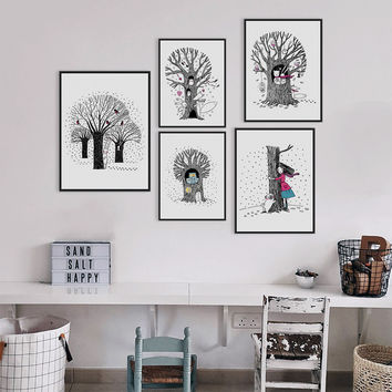 Modern Black White A4 Poster Prints Kawaii Animal Pictures Canvas Painting Wedding Home Decoration Wall Art Girl Gifts