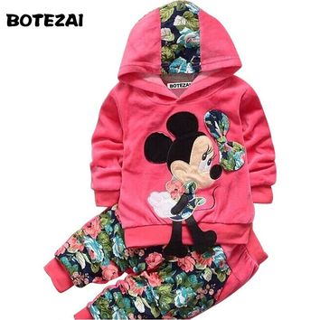 Toddler Girl's Minnie Mouse Designed Velvet Long-Sleeve Hoodie & Flower Pants Set