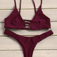 Wine Red Strappy Triangle Bikini Set