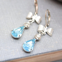 Aquamarine Glass Earrings Something Blue Vintage Clear Rhinestone Silver Bow Dangle Old Hollywood Leverback Winter Wedding Jewellery Bridal