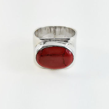 Red Jasper Sterling Ring - Modernist Sterling Ring Size 6.5 - Wide Sterling Band Ring - Mexican Sterling Ring with Red Stone