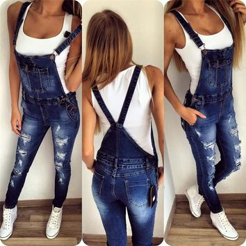 Fashion Denim Wash Overall Women Jeans Jumpsuit Long Pants Rompers Sexy Jumpsuit