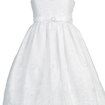 Embroidered Organza Communion Dress w. Sequins Girls Plus 10x-16x