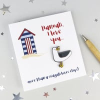 I Love You More than a Seagull Loves Chips - Seagull Enamel Pin Badge and Card - pin - love gift - pin brooch - gift for her - jewellery