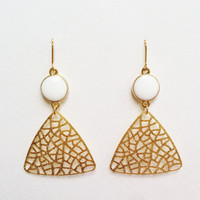 Triangle Dangle Earrings, Gold Triangle Earrings, White Earrings, Gold Filigree Dangle Earrings, Filigree Resin Earrings, Resin Jewelry