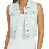 Sleeveless Frayed Denim Vest | Shop Jackets at Wet Seal