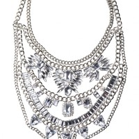 Bold Clear Crystals Statement Necklace - Happiness Boutique