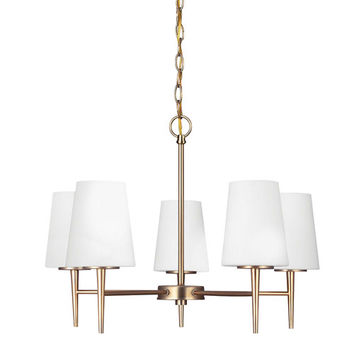 Sea Gull Lighting 3140405-848 Driscoll Satin Bronze Five Light Single Tier Chandelier with Etched Glass Painted White Inside