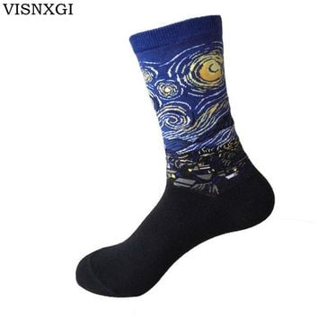 2017 New European Socks Fashion Women Harajuku Style Printing Pure Cotton Oil Painting Classic Art Sock Casual Van Gogh W029