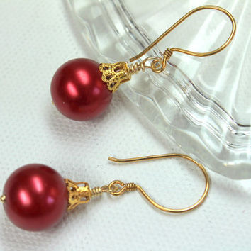 Red Christmas Earrings, Holiday Jewelry, Red Christmas Ball Earrings, Glass Pearl, 14K Gold Filled, Wire Wrapped,Red and Gold