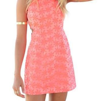 Pink Sleeveless A Line Mini Dress With Narrow Straps