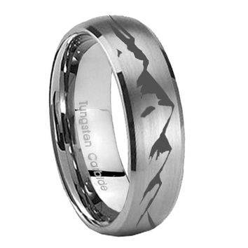 8MM Classic Satin Silver Dome Sound Wave I love you Tungsten Laser Engraved Ring