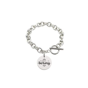 Solid Stainless Steel Inspirational Toggle Bracelet - Normal Is Boring