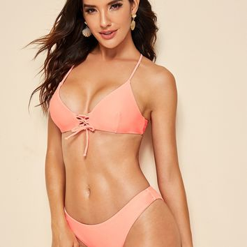 Crisscross Lace-up Top With Panty Bikini Set