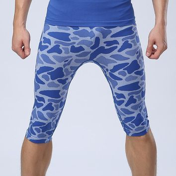 Newest Summer Leopard Compression Tights Shorts Men Spandex Quick Dry Training Running Basketball Shorts Sports Wear