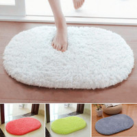 Soft Absorbent Plush Sponge Bedroom Bath Bathroom Shower Floor Door Mat Rug Non-slip Oval Carpet