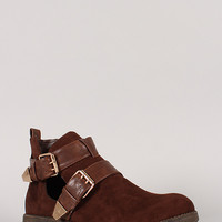 Liliana Rondie-1 Buckle Cut Out Ankle Bootie