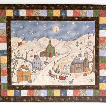 Christmas Wall Hanging, Quilted Snowman Wall Hanging, Winter Wall Quilt, Winter Village, Too Many Men, Christmas Wall Decor, Handmade