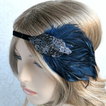 Blue Gatsby Headband, 1920s Hair Accessories, Roaring 20s Party Headband, Jazz Age Flapper Pewter Gunmetal & Blue Feather Headpiece