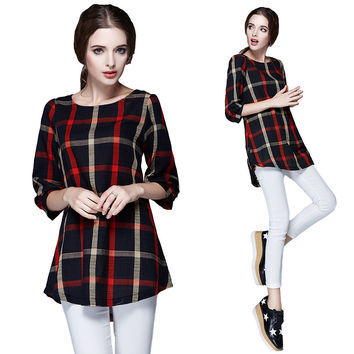 Spring Women Plaid Blouse Vintage