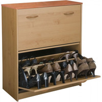 "Shoe Cabinet Holds 24 Shoes, Oak Finish (Oak) (34""H x 30""W x 11 1/2""D)"