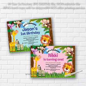Shop monkey birthday party invitations on wanelo jungle animal birthday invitation elephant lion giraffe monkey little boy party stopboris Choice Image