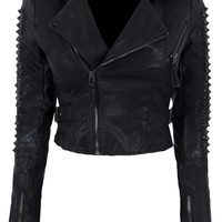 Clothing : Jackets : 'Tabby' Studded Leatherette Jacket