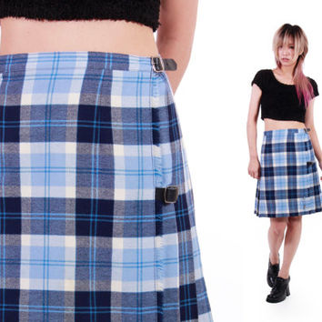 90s Authentic Scottish Pleated Tartan Plaid High Waist Side Buckle Wool Skirt Preppy Schoolgirl Goth Hipster Clothing Womens Size XS Small