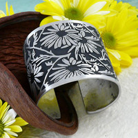 Daisy Bold Pewter Cuff Bracelet | Daisies by Alice Seely