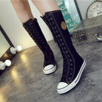 Punk Gothic High Canvas Lace Zip Knee High Boots - 7 Colors