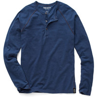 Bound Raglan Henley in Medium Indigo