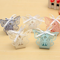 10Pcs Paper Butterfly Laser Cut Candy Boxes For Wedding Party Decor Chocolate Box Baby Shower Gifts Favor